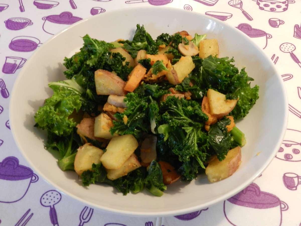 Kartoffel-Pilz-Grünkohl Pfanne